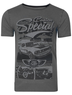 Customcar Motif T-Shirt in Raven Grey – Dissident