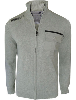 Davey Zip Up Knitted Cardigan in Light Grey Marl - Dissident