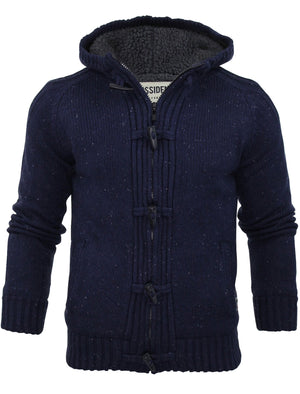 Dissident Hopkins Sherpa Lined Knitted Cardigan in navy
