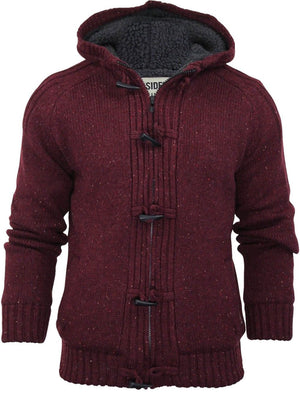 Dissident Hopkins Sherpa Lined Knitted Cardigan in red
