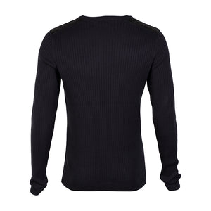 Dissident Julian navy leather shoulder v neck jumper
