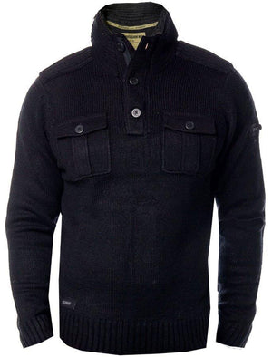 Dissident Navan Wool Blend Button Up Jumper in Black