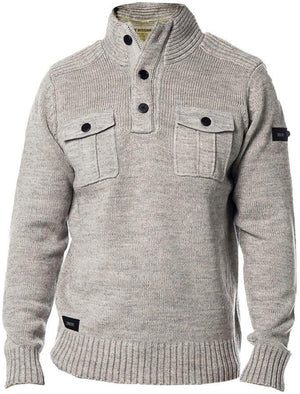 Dissident Navan Wool Blend Button Up Jumper in Grey