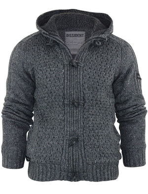 Stella Sherpa Lined Knitted Cardigan in Charcoal - Dissident