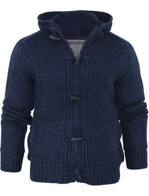 Stella Sherpa Lined Knitted Cardigan in Dark Navy - Dissident