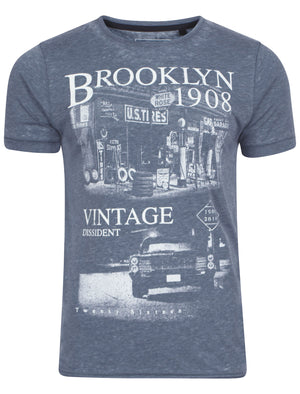 Vindis Grunge Brooklyn  T-Shirt in Blue - Dissident