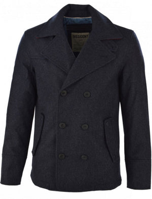 Dissident wool rich Baughman Navy Marl double-breasted jacket
