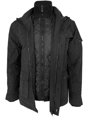 Dissident Cotton Mix Jacket with Quilted Jacket Insert in Black