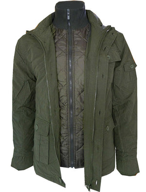 Dissident Cotton Mix Jacket with Quilted Jacket Insert in Green