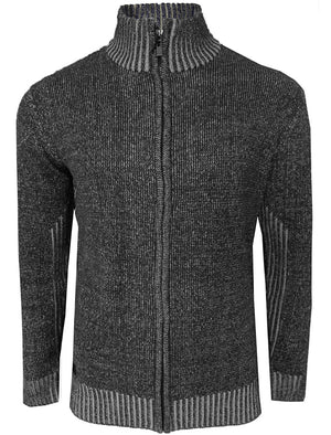 Magnus Zip Through Knitted Cardigan in Black - Dissident