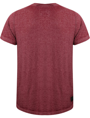 Burneast Burnout Henley V Neck T-Shirt in Bordeaux - Dissident