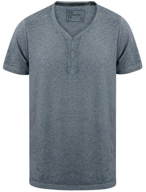 Burneast Burnout Henley V Neck T-Shirt in Vintage Indigo - Dissident