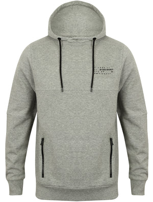 Tetra Pullover Hoodie with Ribbed Panels in Light Grey Marl - Dissident
