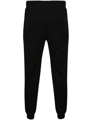 Flaxman Textured Fleece Cuffed Joggers in Black - Dissident