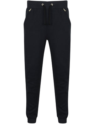 Flaxman Textured Fleece Cuffed Joggers in Dark Sapphire - Dissident