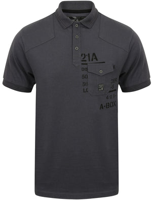 Milicia Jersey Polo Shirt with Chest Pocket in Slate Blue - Dissident