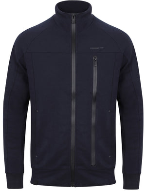Amago Funnel Neck Zip Through Hoodie In Navy – Dissident