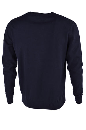 Dissident V-neck jumper with t-shirt insert in navy