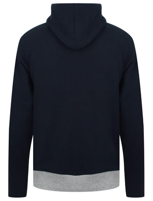 Ban Colour Block Brush Back Fleece Pullover Hoodie In Dark Sapphire – Dissident