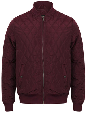 Barnes Diamond Quilted Bomber Jacket In Wine Tasting – Dissident