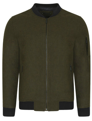 Begonia Wool Blend Bomber Jacket in Khaki - Dissident