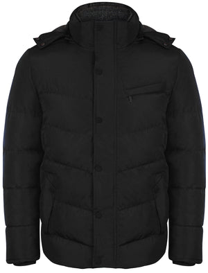 Bennett Quilted Coat with Detachable Sherpa Lined Hood in Black - Dissident