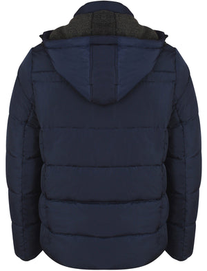 Bennett Quilted Coat with Detachable Sherpa Lined Hood in Midnight Blue- Dissident