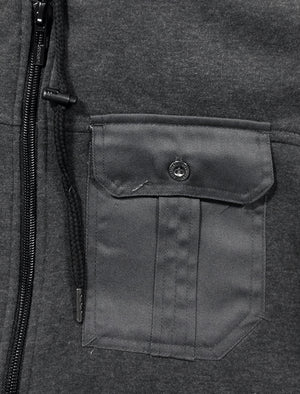 Bicker Utility Sherpa Lined Hoodie in Charcoal Marl - Dissident