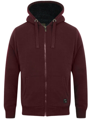 Bolo 2 Zip Through Hoodie With Borg Lining In Wine – Dissident