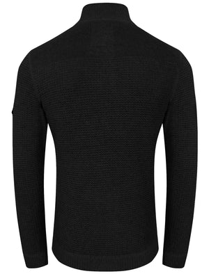 Bruner Cable Knit Pullover Jumper in Black - Dissident