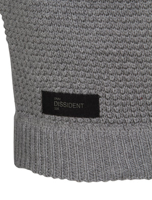 Bruner Cable Knit Pullover Jumper in Mid Grey Marl - Dissident