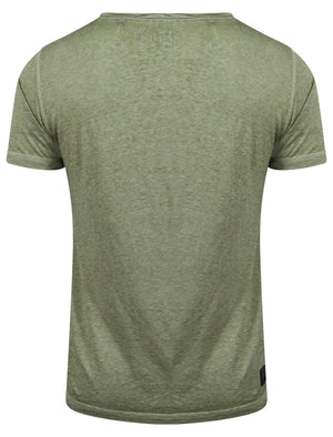 Burnsouth V Neck Burnout T-Shirt with Pocket in Olivine Khaki – Dissident