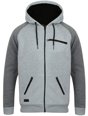 Cadim Zip Through Hoodie with Borg Lining in Light Grey Marl – Dissident