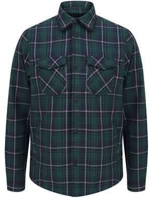 Castello Faux Fur Fleece Lined Checked Overshirt Jacket in June Bug Green - Dissident