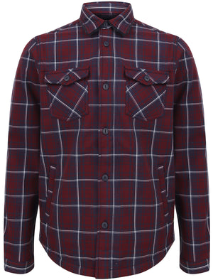 Castello Faux Fur Fleece Lined Checked Overshirt Jacket in Tawny Port - Dissident