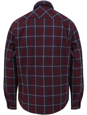 Castello Faux Fur Fleece Lined Checked Overshirt Jacket in Tawny Port – Dissident