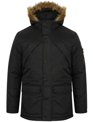 Claremont Parka Coat with Fur Trim Hood in Black - Dissident