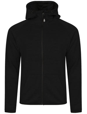 Cowley Funnel Neck Zip Through Hoodie in Black - Dissident