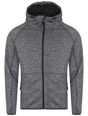 Crowder Zip Through Hoodie in Black / Grey Spacedye - Dissident