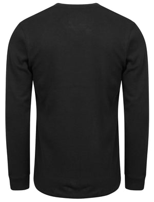 Cyril V Neck Mock Insert Cotton Ribbed Top in Black – Dissident
