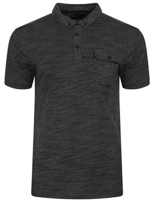 Dulwich Space Dye Polo Shirt in Black - Dissident