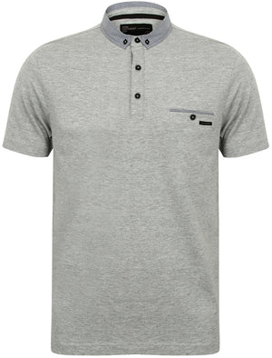 Dunbar Cotton Jersey Polo Shirt in Light Grey Marl - Dissident