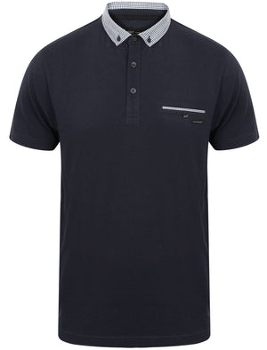 Dunbar Cotton Jersey Polo Shirt in Dark Sapphire - Dissident