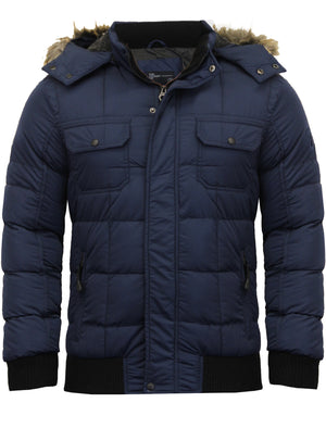 Enyo Quilted Puffer Jacket With Detachable Fur Trim Hood in Midnight Blue - Dissident