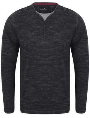 Felter Space Dye Mock Insert Long Sleeve Top In Black - Dissident