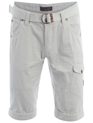 Dissident ash grey Finsbury cargo shorts with free matching belt