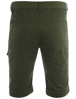 Dissident amazon khaki Finsbury cargo shorts with free matching belt