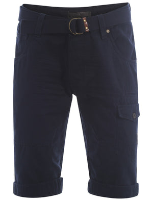 Dissident midnight blue Finsbury cargo shorts with free matching belt