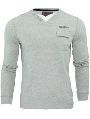 Floura Long Sleeve Top with Pocket in Light Grey Marl - Dissident