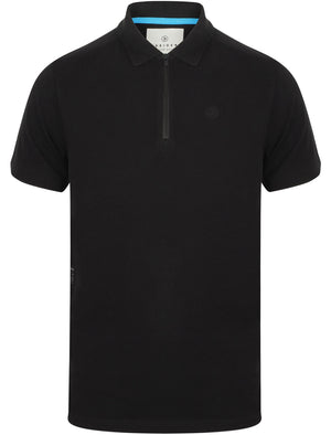 Fusa Cotton Pique Polo Shirt with Zip Collar In Jet Black – Dissident